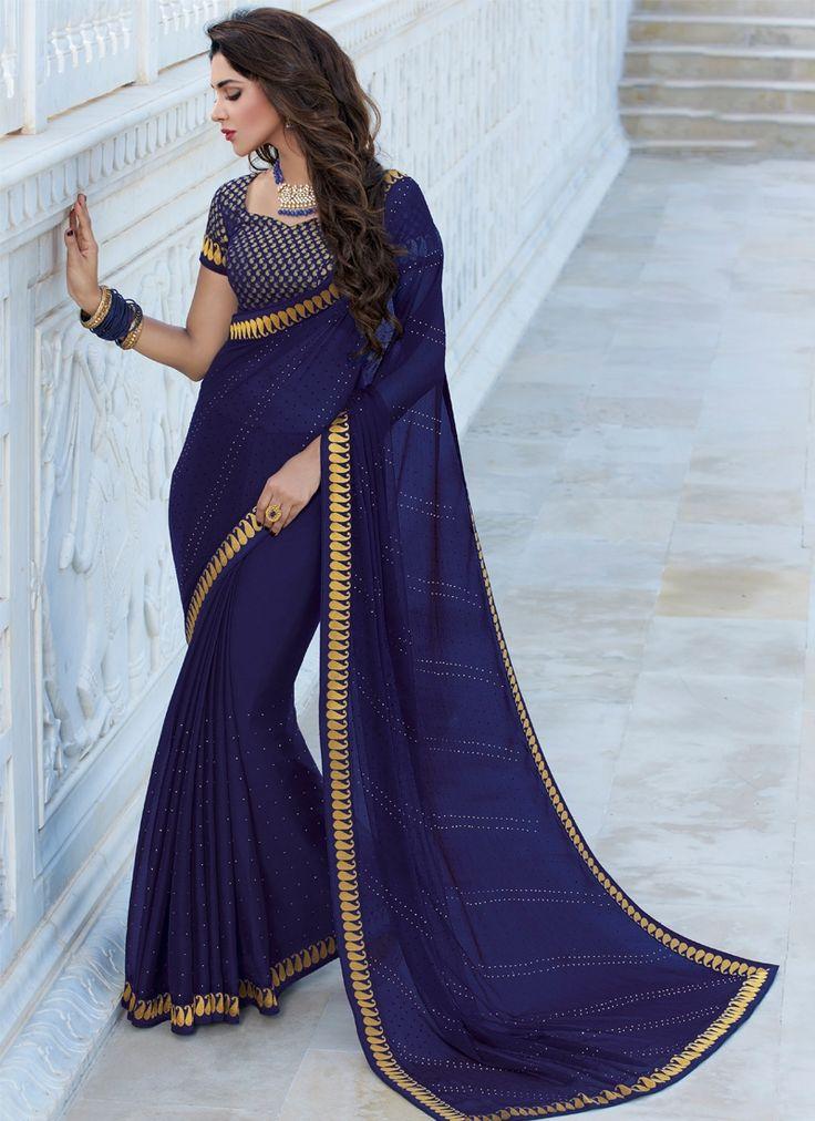 Buy Dark Blue Color Satin Chiffon Saree Online