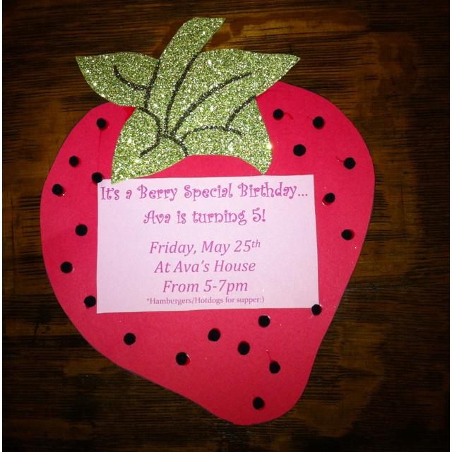 Homemade Strawberry Shortcake Birthday Invitations For My