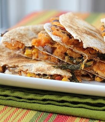 Sweet Potatoe and Kale quesadilla; made my own rendition of this this morning. so yummy!