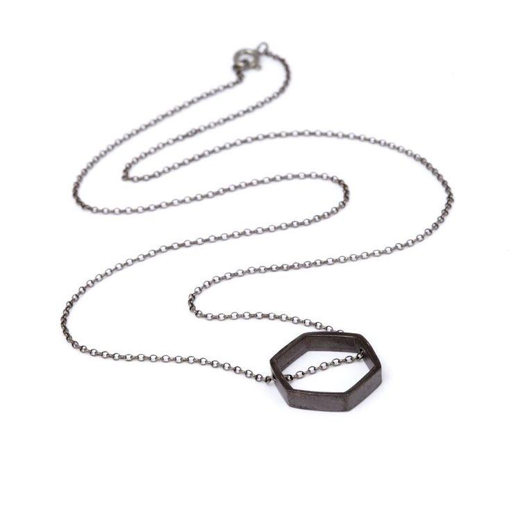 Rhodium Plated Hexagone/Rhodium Plated Chain