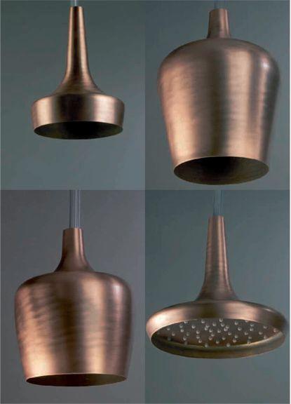 Coppery bronze Shower heads. So Fabulous!