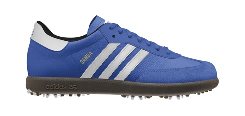 On the golf course. Adidas Samba, iconic indoor soccer silhouette, and a stable, modified-for-golf sole