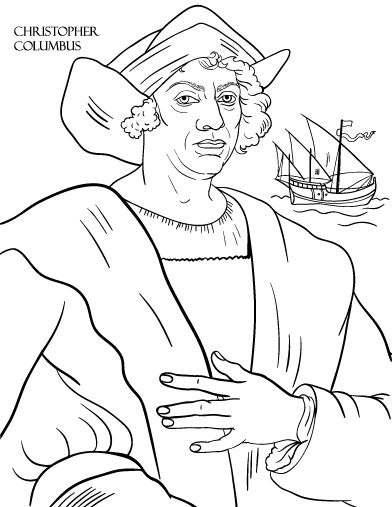 Printable christopher columbus coloring page free pdf for Christopher columbus coloring pages printable