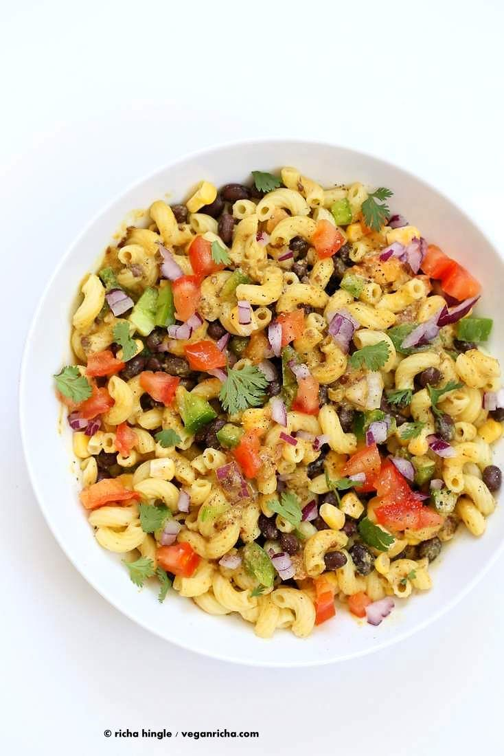Southwestern Pasta Salad with black bean dressing | Vegan Richa