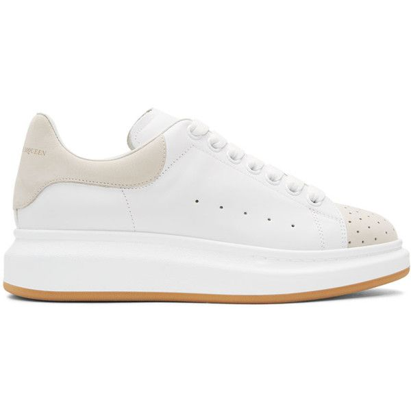 Alexander McQueen White and Beige Oversized Sneakers ($610) ❤ liked on Polyvore featuring men's fashion, men's shoes, men's sneakers, white, mens white sneakers, mens white leather sneakers, mens perforated leather shoes, mens leather lace up shoes and mens platform shoes