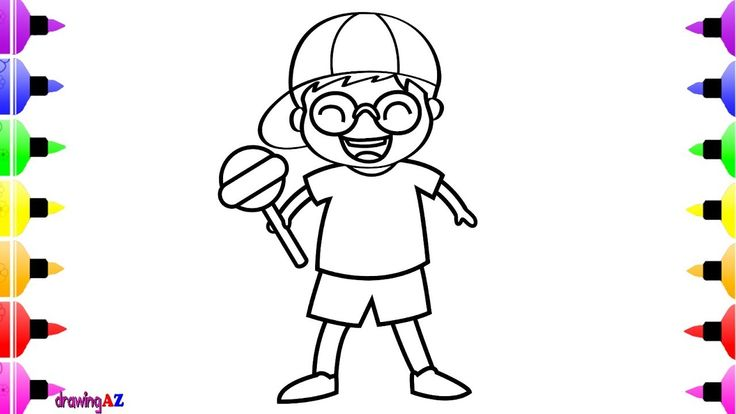How to Draw Little Boy with BIG Lollipop for Kids and Art Coloring Book for Kids