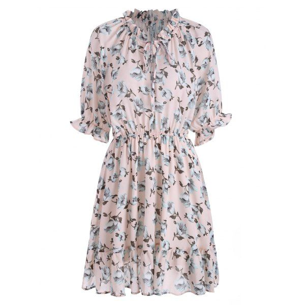 Plus Size Ruffle Chiffon Floral Skater Dress - Pink 3xl