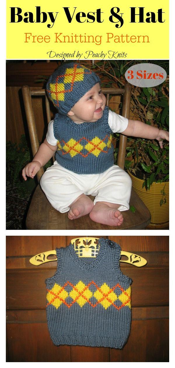 Baby Argyle Vest And Hat Free Knitting Pattern Knitting