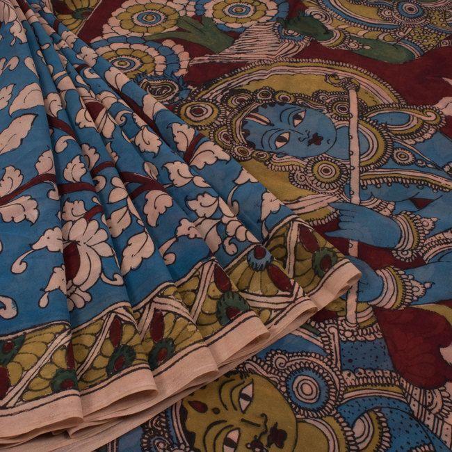 Jullaaha Handcrafted Kalamkari Georgette Saree with Floral Motifs & Rasleela Pallu 10006595 - AVISHYA