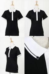 ハリールイドのポロシャツ半袖ボタンダウンポロシャツオシャレな前立てカラー切替画像