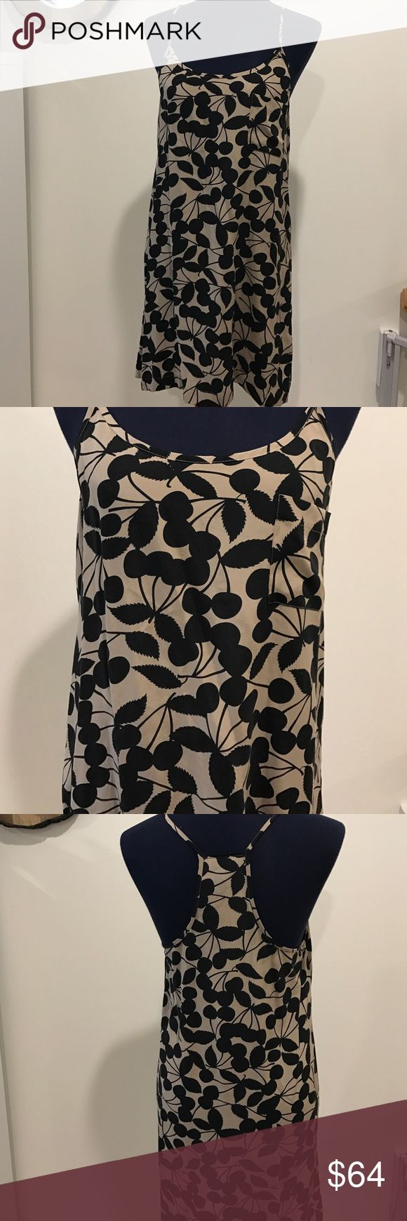"""JOIE Silk Cambridge Tank Dress NWT Size Small NWT Joie Silk Tank Dress with Super Cute Cherry and Stems Pattern  •Women's Size Small •1 Front Pocket •Armpit to armpit: 17"""" •Length: 31"""" •Dry Clean Only  From aSmoke Free Environment  Please feel free to contact me with any questions, thank you for taking a look! Joie Dresses"""