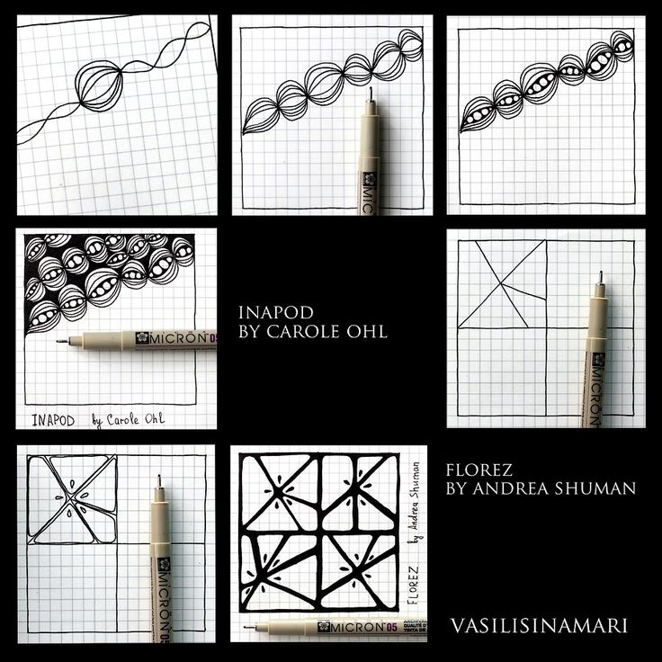"VASILISINAMARI zentangle tutorial pattern ""INAPOD"" and Florez tangle pattern"