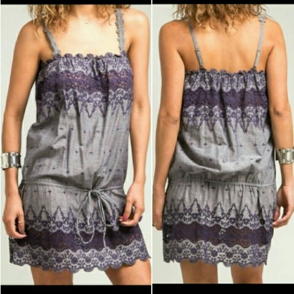 SMALL PURPLE EMBROIDERED DRAWSTRING DRESS FLIRTY LIGHTWEIGHT GRAPE/EGGPLANT PURPLE EMBROIDERED DRAWSTRING DRESS WITH SCALLOPED DETAIL HEM. 100% COTTON. NEW IN BAG! ***DISCOUNTED SHIPPING AND BUNDLES!*** BOUTIQUE Dresses
