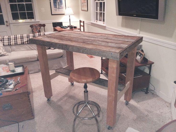 JKF original - bar high kitchen table - reclaimed wood top. - 409 Best Murphy's Naturals Inc & Loading Dock Raleigh Office Ideas