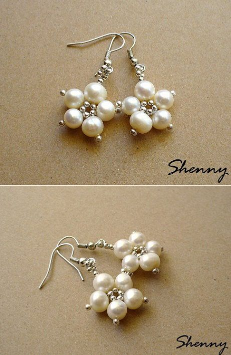 Beaded pearl earrings Más