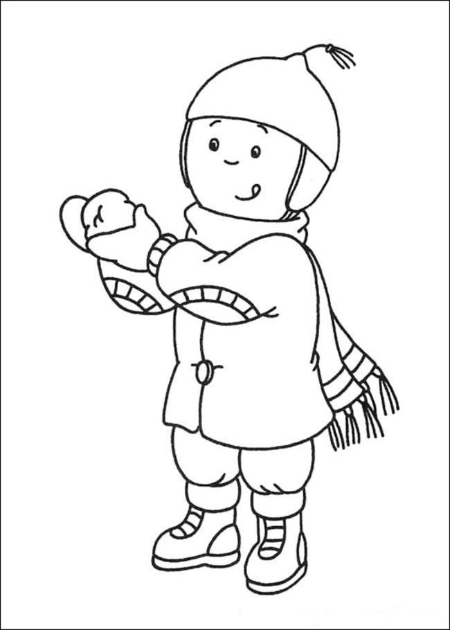 Caillou Coloring Pages Wearing Winter Clothes Coloring Pages