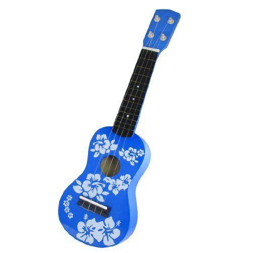 como mini 4 strings wooden acoustic guitar ukulele toy blue for children by como total. Black Bedroom Furniture Sets. Home Design Ideas