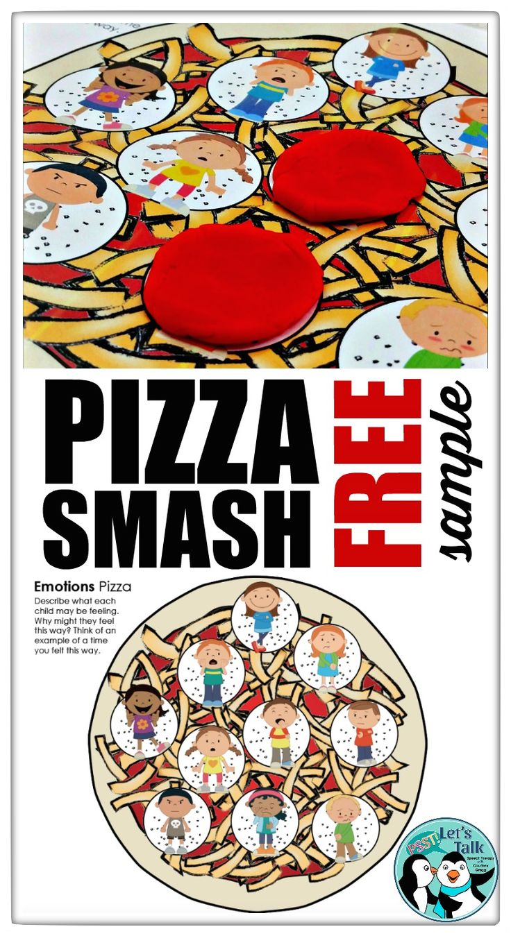 FREE Emotions Play Dough Mat! Pizza Smash is a favorite activity in my therapy room! Try out this hands-on language activity for FREE!