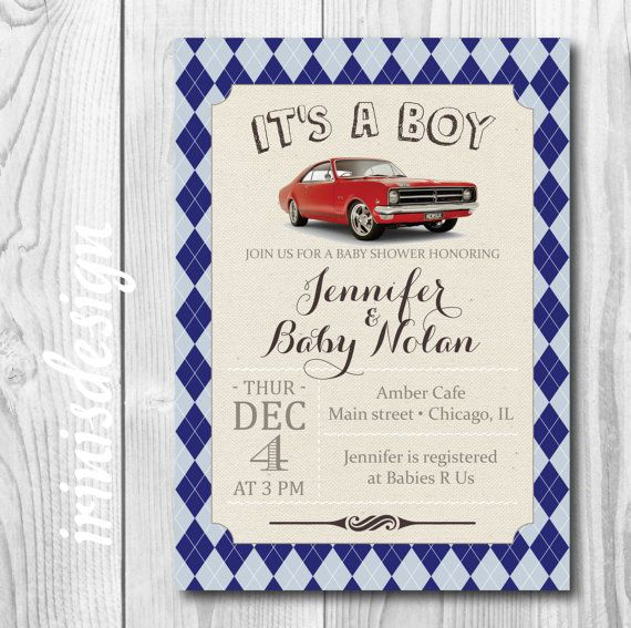 Muscle Red Car argyle navy blue baby shower by irinisdesign
