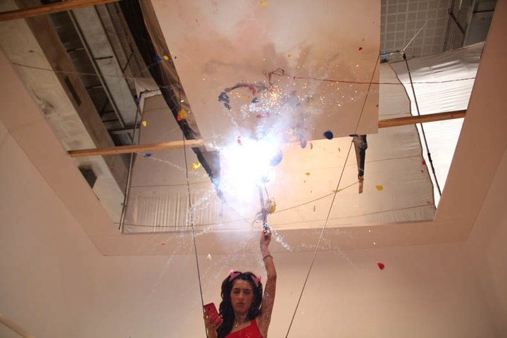 The balloons explode.