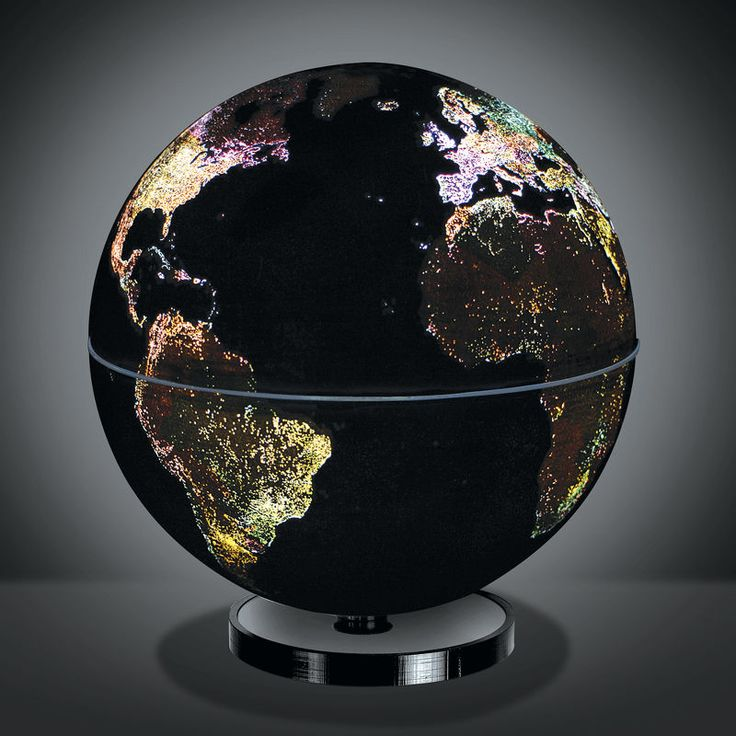 This rotating globe illuminates to show how