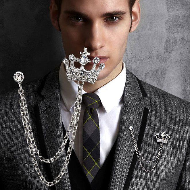 Luxusná brošňa v tvare kráľovskej koruny s kryštálikmi