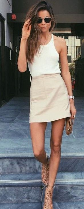 #summer #lovely #fashion |  White Top + Nude Skirt