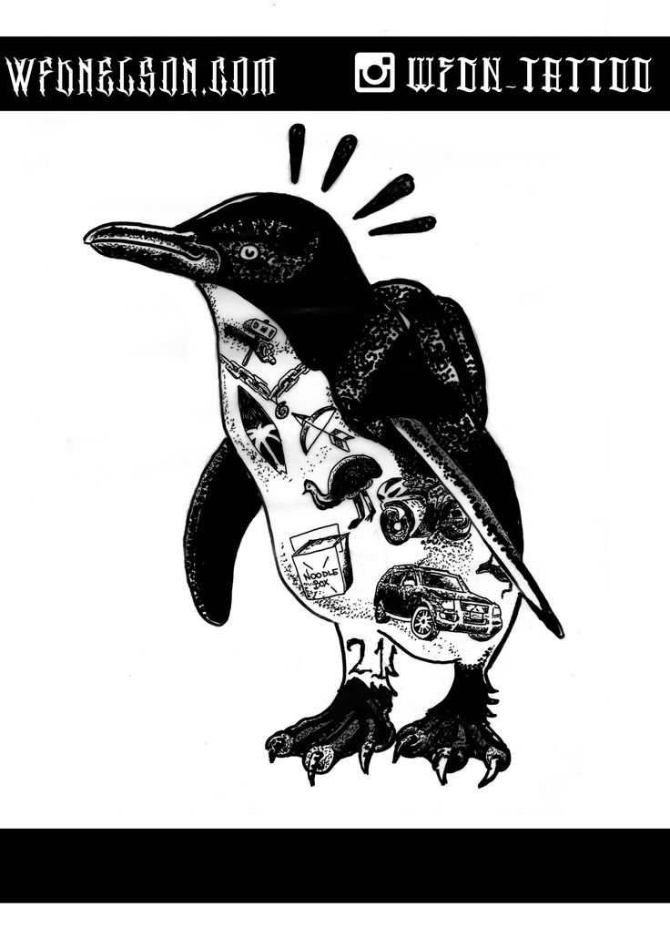 Tattoo Flash Penguin Design - SOLD please modify not copy as this design has been sold as a tattoo already and was tailored to the clients needs, I can design something like this for you if you want, get in contact via website listed or follow me on social media for new stuff, Thanks  #penguin #mcbess #blackwork #dotwork #tattooflash #penguintattoo #illustration