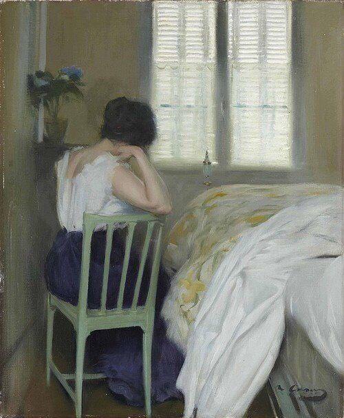 Sad Hours, by Ramon Casas i Carbó (Spanish, 1866-1932)