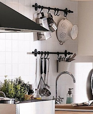 "Ikea Fintorp Steel Condiment Kitchen Spice Holder Storage Organizer Cutlery Caddy/Plant Pot along with 31"" Kitchen Pot Rack Utensil Storage Organizer and 5 3"" Steel Hooks Kitchen Utensil Hanger Pot Pan Holder:"