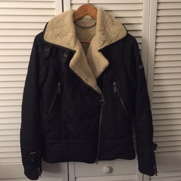Barbour Batallion Jacket Worn once, this is an amazing Barbour bomber jacket lined with sherpa. Runs small, so please know your size. Barbour Jackets & Coats