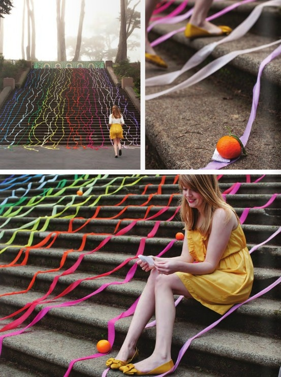 This is such a sweet idea - surprise a special someone with an outdoor art installation. Pretty streamers and little oranges that hold special notes (you can use other objects.) #birthday #engagement #proposal #idea