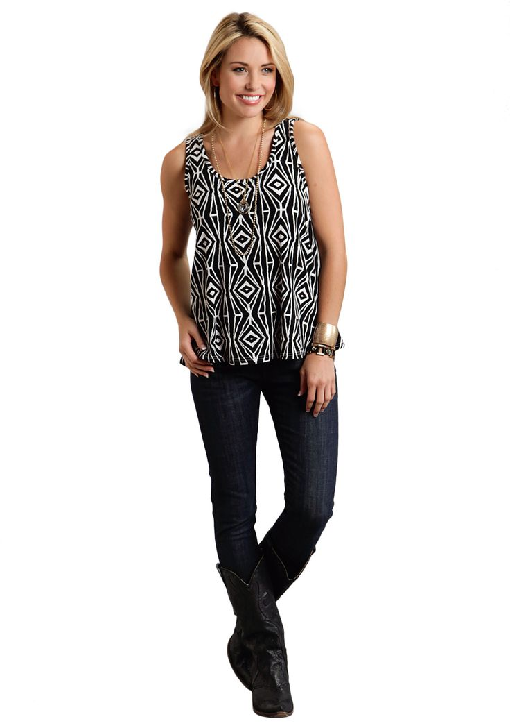 Stetson Ladies 9821 Black And White Aztec Print Tank Sleeveless Shirt Pullover Closure