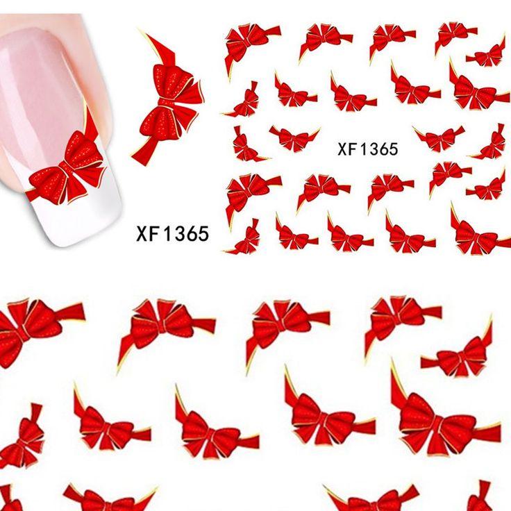 1 folhas vermelho extravagante gravata borboleta doces Casual prego decalques adesivos marca d ' água beleza decorações folhas francês dicas de ferramentas XF1365 em Adesivos de Health & Beauty no AliExpress.com | Alibaba Group