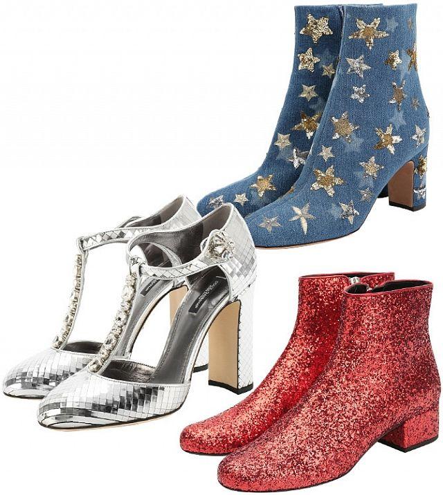 Ботильоны из денима Saint Laurent, серебряные туфли Dolce&Gabbana, красные ботильоны с блестками Saint Laurent