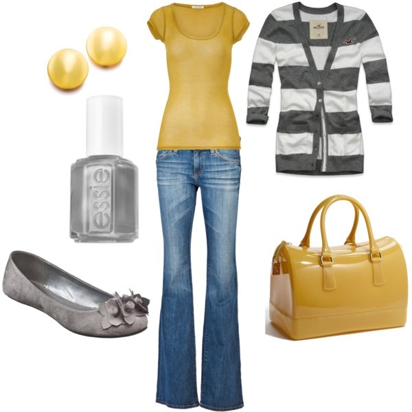 LOVE this outfit: Colors Combos, Pur Cardigans, Woman Fashion, Yellow Gray, Gray Pur, Accent Colors, Vegas Outfits, Mustard Yellow, Mustard Pur