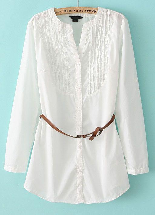 White Long Sleeve Hollow Belt Blouse - Sheinside.com