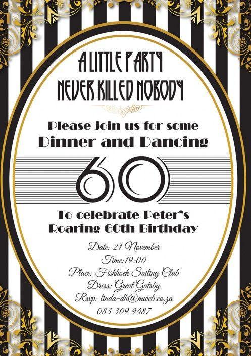Great Gatsby 60th birthday party invitation design by Very Cherry Design Studio