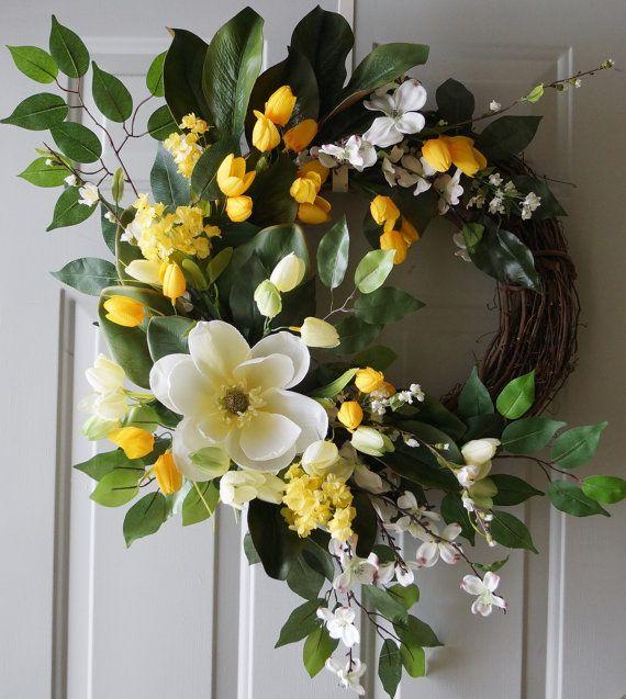 Spring Door Wreath Magnolia Cherry Flowers Tulips by Hobby4Crafts