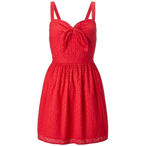 Miss Selfridge Petites Red Tie Front Dress (88 CAD) ❤ liked on Polyvore featuring dresses, petite, red, embroidery dress, embroidered dress, cotton sun dresses, embroidered cotton dress and red embroidered dress