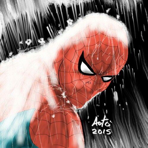 Rainy Spiderman by Antonio Palumbo  #spiderman
