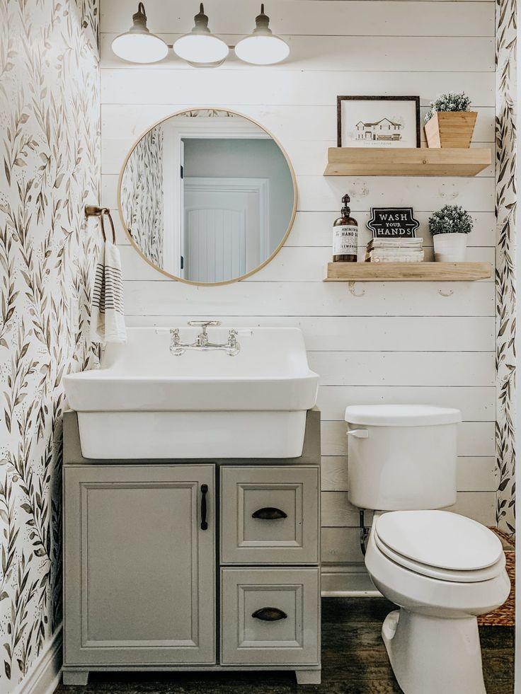 Wallpaper + Textured Walls Small farmhouse bathroom