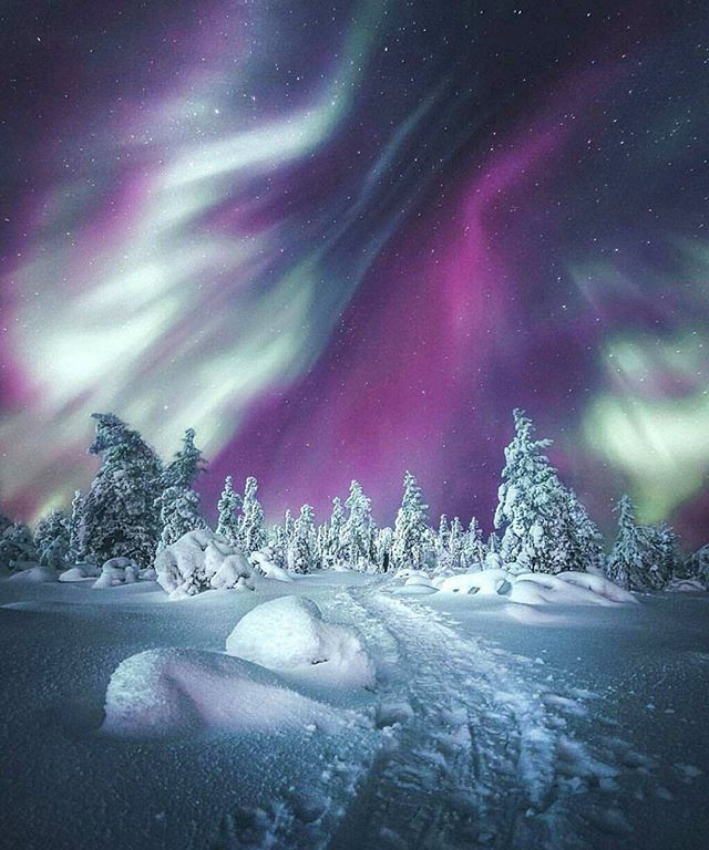 Northern lights in Finland Photo by @juusohd