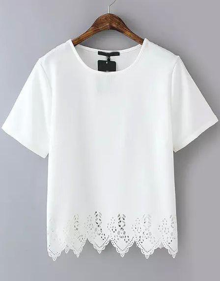 White Short Sleeve Lace Hem Chiffon T-Shirt //ROMWE Design T shirts. This women summer tshirt is chiffon lace hem crop one .Adorable & chic !