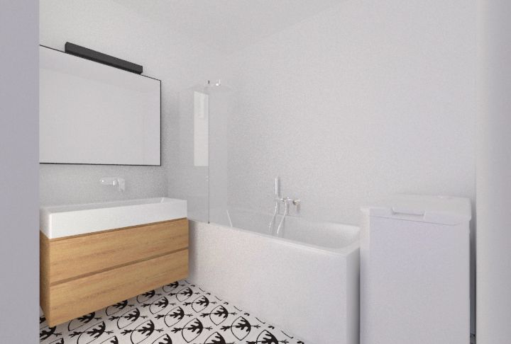 white small bathroom, Vives Rotjen Basalto tiles