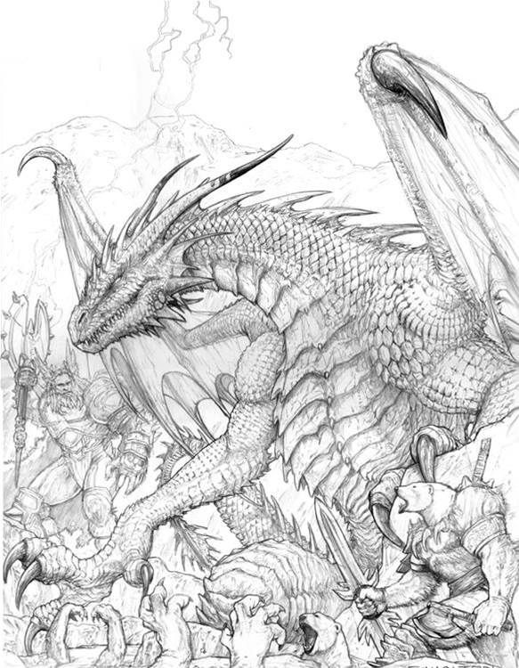 fantasy coloring pages for adults bing afbeeldingen - Dragon Coloring Books