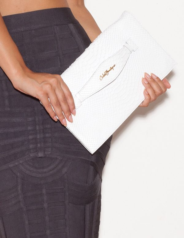 Accessories : 'Luxe' White Leather Python Effect Clutch Bag