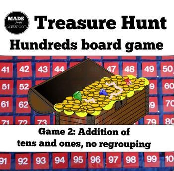 Treasure Hunt - ADDITION (tens and ones) and number knowledge game