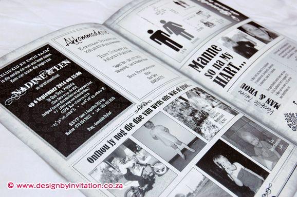 Wedding Newspaper Layout Trou-Koerant UItleg © www.designbyinvitation.co.za