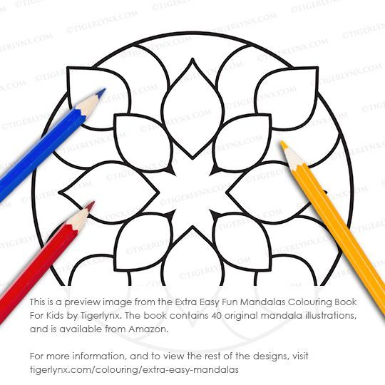 This very easy mandala colouring page is from the Extra Easy Fun Mandalas Colouring Book For Kids by Tigerlynx. This book has 40 original mandala designs, and is available from Amazon. For more info, and to see all the illustrations, visit http://tigerlynx.com/colouring/extra-easy-mandalas #coloring #colouring #coloringbook #colouringbook #kidscoloring #kidscolouring #childrenscoloring #childrenscolouring #mandala #mandalacoloring #simplecoloring #easycoloring #art #illustration #geometric…